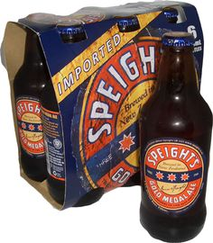 Speights - Beer from the South of the South in New Zealand.  It's now popular throughout NZ, but the original brewery is in Dunedin!  Speights = superior piss enjoyed in great hotels (in) the South!