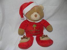 "10"" Sunshine Baby First Christmas Teddy Bear Plush Rattle Red  #SunshineBaby"