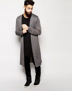 ASOS Super Longline Cardigan at ASOS. Longline Cardigan, Long Cardigan, Urban Fashion, Mens Fashion, Winter Outfits, Casual Outfits, Stylish Men, Swagg, Pyjamas