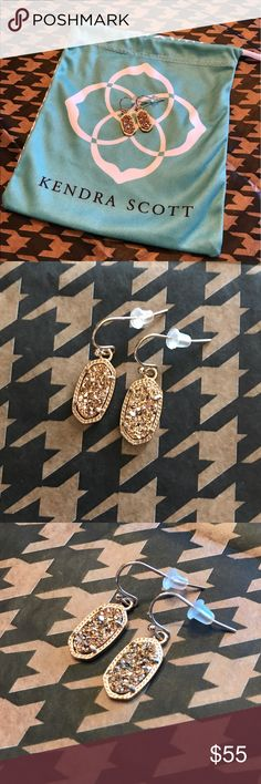 Kendra Scott Lee Earrings: Rose Gold Drusy Sparkling drusy rose gold earrings by Kendra Scott! Great condition and comes with clear stoppers and a KS jewelry pouch! Kendra Scott Jewelry Earrings