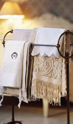 Great way to display Grandma's crochet table runners and towels.