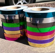 MIRROR TAPES By Colorado Hula Hoops - http://www.coloradohulahoops.com/15-ft-roll-of-1-metallic-mirror-hula-hoop-tape-many-colors-to-choose-from