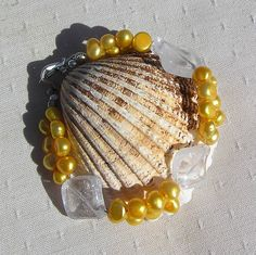 Clear Quartz & Yellow Freshwater Pearl Crystal by SunnyCrystals, £12.75