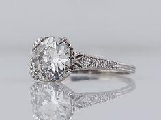 Antique Engagement Ring Art Deco 1.40 Old European Cut Diamond in Platinum-Minneapolis, MN filigreejewelers.com