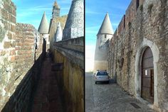Situado na vila com o mesmo nome, o Castelo de Viana do Alentejo é considerado, a par do castelo do Alvito, uma das obras arquitetónicas fortificadas mais notáveis do período gótico. Restaurado em 2010, no interior está a Igreja Matriz, de traça manuelina (fotos: linhasdeelvas.net e Wikipédia)