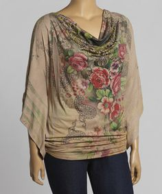 This Tan & Red Floral Cape-Sleeve Drape Top - Plus is perfect! #zulilyfinds