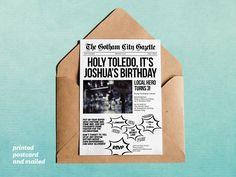 Batman inspired superhero newspaper invitation template for your ...