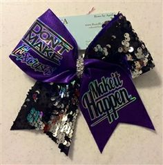 Don't Make Excuses Make It Happen Purple Mystique and Black and Silver Reversible Sequins Cheer Bow