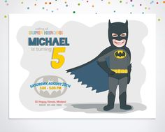 Superhero Invitation, Batman Birthday Invitation by happyminiyou on Etsy