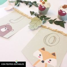 Mira todas las fotos de estos diseños para imprimir en www.cumplekits.com  ¡Crea la fiesta de animalitos del bosque más linda y original!