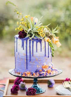 Rock-candy Purple and Gold Wildflower Drip Wedding Cake