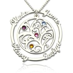Birthstone Motherhood Name Necklace for Mom - Send your love this year by creating a custom birthstone necklace with the 4 Stone Personalized Birthstone Family Tree.It is perfect for mothers and grandmothers, because just like the tree, they provide all these things for their family.