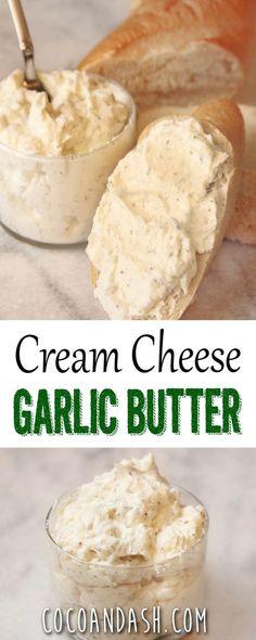 Cream Cheese Garlic Butter - use lo-cal butter spread, Greek yogurt cream cheese or non-fat cream cheese. Flavored Butter, Homemade Butter, Butter Recipe, Whipped Butter, Flavored Cream Cheeses, Butter Mochi, Butter Icing, Cookie Butter, Homemade Cheese
