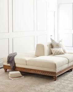 """Double-sided conversation sofa. Alder wood frame. Cotton/polyester upholstery. Decorative pillows not included. Assembly required. 96""""W x 76""""D x 33""""T. Made in the USA. Boxed weight, approximately 270"""