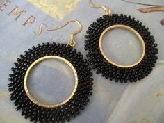 Seed Bead Earrings - Basic Black Beaded Hoop Earrings - Beadwork Statement Jewelry by WorkofHeart on Etsy Beaded Earrings Patterns, Seed Bead Earrings, Unique Earrings, Etsy Earrings, Hoop Earrings, Seed Beads, Silver Earrings, Crochet Earrings, Diy African Jewelry