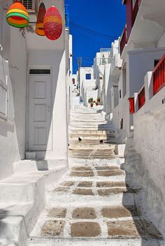 White Stairs in Mykonos, Greece