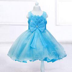 Retail 2017 de Loto Plisado Flor Vestidos de Las Muchachas de la Correa Del Arco Vestidos de Primera Comunión Para Niñas Bebé Príncipes Vestidos L608