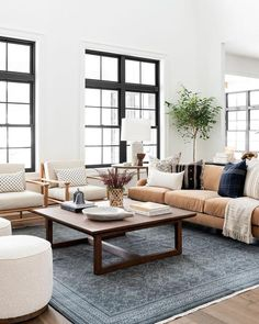 Herrin Coffee Table – McGee & Co. Rugs In Living Room, Home And Living, Living Room Interior, Living Room White Walls, White Couch Living Room, Warm Living Rooms, Small Living, Apartment Living Rooms, Modern Living Room Furniture