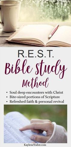 REST Bible Study Method The R. Bible Study Method guides you through soul deep encounters with Christ through bite-sized portions of Scripture. If your current devotional time is weak, hassled, or non-existent. Bible Study Plans, Bible Study Guide, Bible Study Journal, Scripture Study, Rest Scripture, Family Bible Study, Scripture Memorization, Prayer Journals, Bible Studies For Beginners