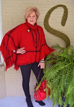What's behind door #3 Vanna? Why, it's a red and black poncho! lol Welcome back to my poncho series. I hope you are having as much fun looking at these, as I am wearing them. This is one of my very favorite ponchos. I love the shade of red, and the large windowpane black stripes. …