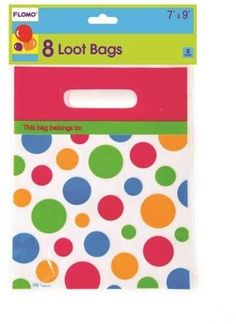 Polka Dot Design Printed Loot Bags (8 count) - 36 Units