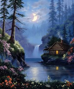 Moonlight over the Lake nature flowers art moon lake painting gif half moon cabin