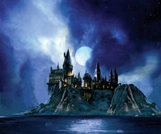 Harry Potter Full Moon at Hogwarts Giclee on Paper SIGNED by Jim Salvati Limited Edition of 250