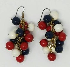 1960s Patriotic Chandelier Earrings  Red Blue and White
