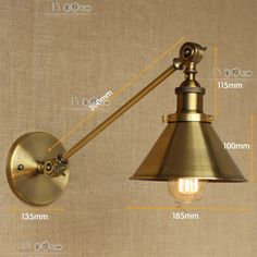 20TH C. Library Single Sconce Vintage Wall Lamp - Antique Brass Indoors Light