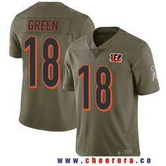 Men's Cincinnati Bengals #18 A.J. Green Olive 2017 Salute To Service Stitched NFL Nike Limited Jersey