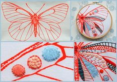 Image of Tryk til broderi, sommerfugl - embroidery print, butterfly