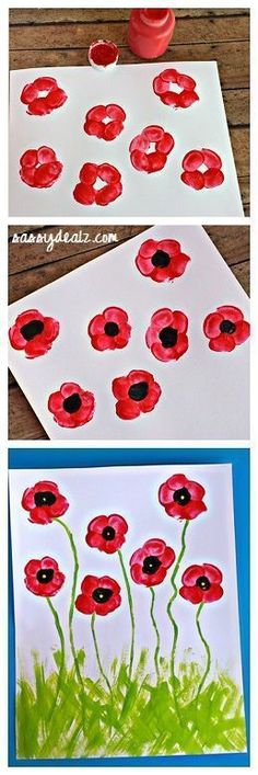 Fingerprint Poppy Flower Craft for Kids! #Summer #veteransday #Spring art project | http://www.craftymorning.com