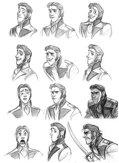 Hans Expressions Sheet (part 1) from Walt Disney Animation Studio Frozen by Jin Kim