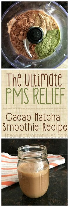 Cacao Matcha Smoothie Recipe - super delicious but also the ultimate PMS and PMDD relief! A great home remedy for hormonal imbalances and it is rich in magnesium. Perfect breakfast smoothie to start your day with or a pick me up in the afternoon.  Find more relevant stuff:  victoriasbestmatchatea.com