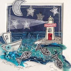 A recent mini seascape commission of Youghal lighthouse. Freehand Machine Embroidery, Free Motion Embroidery, Free Machine Embroidery, Embroidery Applique, Fabric Cards, Fabric Postcards, Art Textile, Textile Artists, Sewing Art