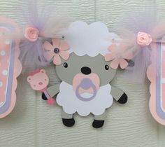 Baby shower banner its a girl lamb banner by NancysBannerBoutique,