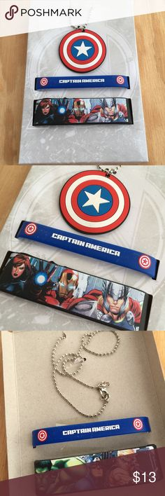 New marvel avengers captain America jewelry set Brand new with tags. Pet and smoke free home. Marvel avengers captain America theme. Includes one necklace and two bracelets Accessories Jewelry