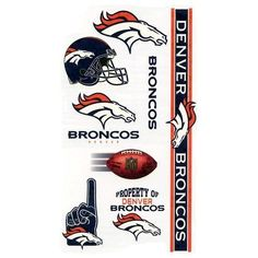 Denver Broncos Temporary Tattoos by WinCraft. $2.25. Great for tailgate parties and more!. Officially licensed by the National Football League. Easily applied with water and removed with rubbing alcohol. Each set features vibrant team colors and a variety of logos. 10 temporary tattoos in a wide variety of shapes and colors. A 6x9 sheet of officially licensed temporary tattoos. Each tattoo sheet comes with a collection of ten different temporary tattoos. Tattoos are a...