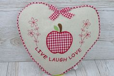 Heart Scatter Cushion Live Laugh Love Gift For Home Mothers Day Apples  FD1422B