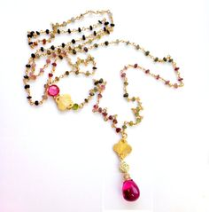 Watermelon Tourmaline Necklace Ombre Rosary by PrettyLittleChips