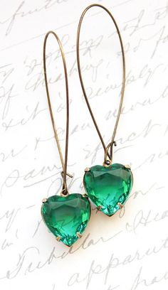 Emerald Green Rhinestone Heart Earrings
