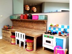 I like this wooden table with a shelf, great area for kids to play and work on.