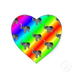 Gaudy Bright Rainbow Elephant Pattern Sticker