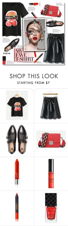 """""""Dress Up a T-Shirt"""" by smajlovicelvira ❤ liked on Polyvore featuring Pull&Bear, Clinique, NYX, Lipstick Queen, Gucci, Guerlain and MyFaveTshirt"""