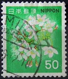 Japan. CHERRY BLOSSOMS. Scott 1417  A1001.  50y,  Issued 1980 Oct 01.