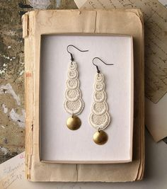 lace earrings STACKED CIRCLES ivory by whiteowl on Etsy, $22.00