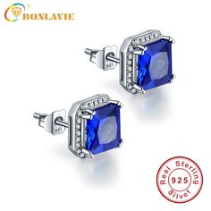 3.8ct Natural Stone Sapphire Stud Earrings For Women Pure 925 Sterling Silver Fashion Jewelry Classic Square Women Earrings #Affiliate
