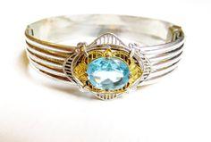 Art Deco Bracelet Silver Bracelet Bangle Blue by IfindUseekVintage