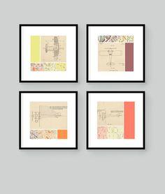 "4 Modern Collage Airplane Prints 6"" x 6"". $40.00, via Etsy."