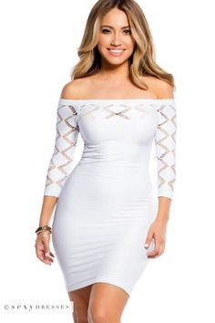 Diamond Cut Out Off Shoulder Pure White Bodycon Dress with Sleeves One Size Dress: Fits dress size 0-6 (XS-S)